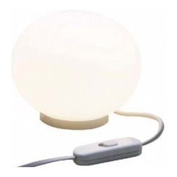 "Flos - Flos Glo-Ball mini T table lamp - The diffuser is consisting of an externally acid-etched, handblown, has flashed opaline glass and an injection-molded white polybutylenterephtalate threaded ring nut. The On/Off switch is fitted on white PVC-coated cord.  Product description:  The Flos Mini Glo-Ball T table lamp is designed by Jasper Morrison in 2003. This simple table lamp is providing diffused light. The diffuser is consisting of an externally acid-etched, hand blown, has flashed Opaline glass and an injection-molded white polybutylenterephtalate threaded ring nut. The On/Off switch is fitted on white PVC-coated cord. Details:                         Manufacturer:             Flos                            Designer:             Jasper Morrison                            Made in:            Italy                            Dimensions:             Height H:3,54"" Diameter: 4,41""                             Light bulb:             1 x 25W G9                             Material             hand blown, Opaline glass"
