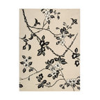 """Nourison - Nourison Modern Elegance LH08 (Black, White) 3'6"""" x 5'6"""" Rug - Let yourself explore the feel of these luxurious handmade wool rugs. Accents of Luxcelle(tm) (faux silk) in soft patterns provide timeless elegance for your home."""
