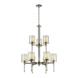 9 Light Chrome Matte Opal Glass & Clear Outside Glass Drum Shade Chandelier - The combination of outer clear glass and inner matte opal glass in each of the nine shades provides a warm yet modern look, while crystal columns and spirals complimented with a chrome finish provide modern day class to any room.