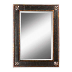 "Uttermost - Uttermost Bergamo Vanity Mirror - Uttermost Bergamo Vanity Mirror is a Part of Mirrors Collection by Uttermost Frame features a distressed chestnut brown finish with mottled black undertones, gold leaf details and a light tan glaze. Mirror has a generous 1 1/4"" bevel. Wall Mirror (1)"