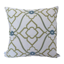 The Pillow Studio - Green Candice Olson and Water Blue Betwixt Geometric Designer Pillow Cover - I love the combination of these fabrics. They compliment each other perfectly and the textural back fabric just adds that custom touch.