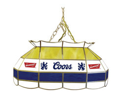 Trademark Global - Coors Banquet Stained Glass Pool Table Lamp - 3 ft. Hanging chain included. Bulbs not included. 2 Bulb style (max. 60 watt per bulb). Pull chain. On & Off switch. 10 ft. Power cord (110 Volt) with 3 Prong plug hanging hardware. Hand-made with stained glass brass channel. 28 in. L x 16 in. W x 14 in. H (27 lbs.)This Coors Banquet 28 in. Stained Glass Tiffany Lamp is an incredibly high quality lighting fixture. Use for your lighting your Billiard Table, Kitchen Table or even your Dining Room Table. Great for gifts and recreation decor.