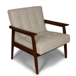 Carraway Arm Chair-Beige - This sleek and chic classic mid-century modern design armchair will delight any focal point in your room. Clean lines of solid ash wood finished in a walnut stain frame a soft grey fabric cushion. Perfect for both reclining and social entertaining.