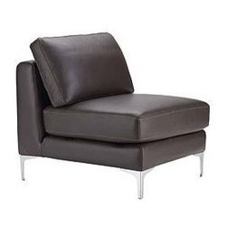"""Design Within Reach - Albert Single Seater - A reason we often hear for not choosing a sectional is that it won't fit, to which we say: """"Have you seen the Albert Collection?"""" With a compact scale for space-conscious homes, each Albert component stands on a surprisingly small footprint and can be configured to fit your space. Use the Albert Single Seater (2008) to expand a Albert Sectional or Sofa (a locking mechanism firmly holds the pieces together), or as a side chair, either alone or in pairs. Comfortable back cushions pamper, while firm foam seat cushions provide just the right amount of support. To maintain a clean look, the back cushions are attached to the frame with zippers, and the leather upholstery is applied to the structure using a fixed slipcover technique. This technique gives the Albert Collection its straight seams and crisp appearance from all angles. The full top-grain, semi-aniline leather upholstery is easy to maintain and will withstand heavy use, even in homes with children and pets. The reinforced frames are built for durability, and come with a lifetime warranty. Still wondering if it will fit? Visit a DWR Studio for help from one of our design experts. To order swatches, call 1.800.944.2233 or visit your local DWR Studio. Made in U.S.A. DWR Exclusive."""