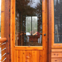 Custom Wood Screen Door - Custom wood screen door with 3d carving on panel. Included remoable screen so a storm glass can be installed.