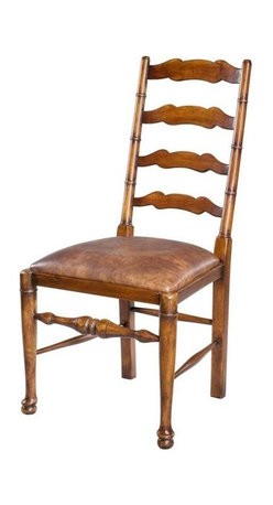 """Sarreid Ltd - Pair of Dining Side Chairs - The traditional English 18th century style ladder-back dining chair is crafted of solid walnut. It features horizontal shaped solid slats above the brown pegasus leather upholstered seat. The turned legs are united by stretchers. Sold as a pair. (SAR) 20"""" wide x 24"""" deep x 41"""" high, seat 19"""" high"""