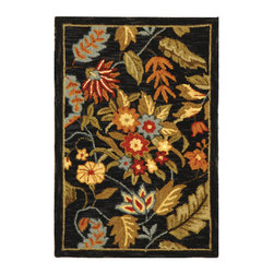 Safavieh - Handmade Paradise Navy Wool Rug (1'8 x 2'6) - Decorate your home with panache with this plush handmade wool rug. With its black floral pattern and plush wool weave, this rug boasts a luxurious touch to floors. This traditional rug will do wonderfully with all types of furnishings.