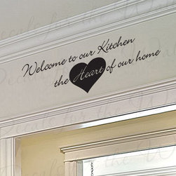 Decals for the Wall - Wall Art Decal Sticker Quote Vinyl Removable Large Welcome to Our Kitchen KI32 - This decal says ''Welcome to our kitchen, the heart of our home''
