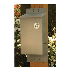 Songbird Essentials - Bat House Gray - Recycled Plastic. Bat House will hold up to 150 Bats and is easy to clean and disinfect. Perfect for backyards. 6 x 8.5 x 19.75