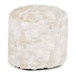 Howard Elliott - Luscious Natural Tall Pouf Ottoman - Our Pouf Tall Ottomans are a great add on to any decor. They work as a Tall rest or extra seating. They are filled with polyester fiber & recycled EPS filler. Cover is faux fur and removable for easy care.