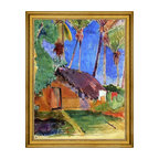 """Paul Gauguin-18""""x24"""" Framed Canvas - 18"""" x 24"""" Paul Gauguin Thatched Hut under Palm Trees framed premium canvas print reproduced to meet museum quality standards. Our museum quality canvas prints are produced using high-precision print technology for a more accurate reproduction printed on high quality canvas with fade-resistant, archival inks. Our progressive business model allows us to offer works of art to you at the best wholesale pricing, significantly less than art gallery prices, affordable to all. This artwork is hand stretched onto wooden stretcher bars, then mounted into our 3"""" wide gold finish frame with black panel by one of our expert framers. Our framed canvas print comes with hardware, ready to hang on your wall.  We present a comprehensive collection of exceptional canvas art reproductions by Paul Gauguin."""