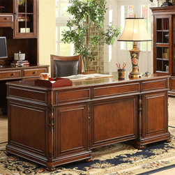 Riverside Furniture - Bristol Court Executive Desk in Cognac Cherry - Wiring access hole with grommet and cap in top panel. Drop-front knee drawer with 2-outlet powerbar, removable pencil tray and wiring access hole. Top and center drawers with felt-lined bottoms. Center drawers with removable and adjustable dividers. Bottom file drawers with locks. Can accommodate either letter or legal-sized file folders. Pedestal drawers with dovetail construction. Ball bearing extension guides. Fixed knee-hole bottom shelf. Interior wiring access cutouts. Base levelers. Bun feet. CPSC HR-4040 certified. Made from hardwood solid and cherry veneer. 66 in. W x 34 in. D x 30.5 in. (310 lbs.). Assembly Instructions