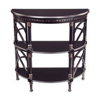 Sterling Lighting - Sterling Lighting Bailey Street Cheval Demilune - Half-round console with interesting fret work in the style of the Cheval series.  The top and two deep shelves allow for ample storage.  This demilune has an ebony finish.