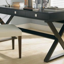"""Sunpan Imports - Emilio Contemporary Trestle Base Writing Desk w 3 Drawers - Let the Emilio table double as a console and classic writing desk. Contemporary styling includes the trestle style base with """"X"""" end supports and a connecting stretcher. Three slender drawers accented with square metal pulls will hold small office essentials. Chair not included. Narrow x-base. Three functional drawers. Made from solid maple and maple veneer. 59 in. L x 23 in. W x 29.5 in. H"""