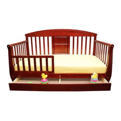 "Dream On Me - Deluxe Toddler Day Bed with Storage Drawer - This durable, solid wood, Deluxe Toddler day bed looks like a day bed but is designed low to the floor for your toddlers' convenience. The perfect transition for toddlers who have outgrown their cribs but are still too small for an adult bed. This attractive toddler day bed accommodates a Dream On Me crib mattress, sold separately. Recommended for children 18 months to 5 years old, up to 45 lbs. All tools needed for easy assembly are included. Features: -Material: Solid wood.-Beautiful mission style design.-Removable security guard rail to prevent accidental falls while sleeping.-Roomy storage drawer underneath the bed.-Wooden mattress support.-Non-toxic.-Recommended for children 18 months to 5 years old.-Collection: Toddler Day Bed.-Distressed: No.-Powder Coated Finish: No.-Gloss Finish: No.-Frame Material: Solid pine wood.-Hardware Material: Metal hinges.-Scratch Resistant: No.-Recommended Mattress Height: 4"".-Mattress Profile Maximum: 4"".-Mattress Profile Minimum: 2"".-Box Spring Required: No.-Slats Required: Yes.-Number of Slats Required: 6.-Slat System Included: Yes.-Number of Slats Included: 6.-Center Support Legs: No.-Recommended Age Range: 18 months - 7 years.-Also Suitable for Adults: No.-Weight Capacity: 45 lbs.-Eco-Friendly: Yes.Specifications: -CPSIA or CPSC Compliant: Yes.-CARB Compliant: Yes.-JPMA Certified: No.-ASTM Certified: Yes.-ISTA 3A Certified: Yes.-General Conformity Certificate: Yes.-Green Guard Certified : No.Dimensions: -Overall Height - Top to Bottom: 32"".-Overall Width - Side to Side: 29"".-Overall Depth - Front to Back: 54.5"".-Headboard Height Top to Bottom: 24"".-Headboard Width Side to Side: 27"".-Footboard Height: 24"".-Footboard Width - Side to Side: 25"".-Interior Drawer Height Top to Bottom: 1"".-Interior Drawer Width Side to Side: 4"".-Interior Drawer Depth Front to Back: 51"".-Overall Product Weight: 43 lbs."