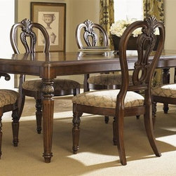 Liberty Furniture - Messina Estates 5 Pc Dining Set in Cognac Fin - Includes table and four upholstered side chairs. Arm chairs sold separately. Table with two 18 in. leaves. Clipped corners. Gold tipping accents. Nylon chair glides. Warranty: One year. Made from hardwood solids and wormy cherry veneers. Made in Vietnam. Side chair: 24 in. W x 22 in. D x 44 in. H (55 lbs.). Table minimum: 72 in. L x 44 in. W x 30 in. H. Table maximum: 108 in. L x 44 in. W x 30 in. H (187 lbs.)