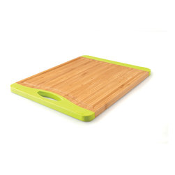 "Berghoff - Berghoff Medium Rect. Bamboo Chop. Board - Chopping board features lime green silicone accents to prevent skidding and a handle on one end. Also features a groove around the board to prevent juices from spilling off. Bamboo chopping boards are seeing a resurgence in popularity as they are considered a green product."" Caring for bamboo cutting boards is easy, just wash with soap and water. The natural beauty and durability is unique."