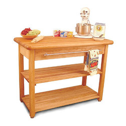 "Catskill Craftsmen - French Country Prep Table with Butcher Block Top - This prep table brings new life to a classic French Country design with the addition of a sleek chrome towel bar and extra large capacity drawer. The two slatted shelves provide plenty of open storage space. This table also features leveler feet that allow adjustment to compensate for an uneven floor - no wobbling here! The 2'' thick butcher block surface is ideal for cutting and preparing any food. This table is sure to make any cook's life much easier! Features: -2'' Thick butcher block top.-One extra large drawer.-Two slatted storage shelves.-Adjustable middle shelf.-Chrome towel rack drawer pull.-Adjustable leveler feet to compensate for uneven floors.-Constructed from North American hardwood in the Catskill Mountains.-Product Type: Kitchen Island.-Collection: Contemporary Harvest Table.-Base Finish: Natural Wood.-Counter Finish: Natural Wood.-Hardware Finish: Nickel plated.-Distressed: No.-Powder Coated Finish: No.-Gloss Finish: No.-Base Material: Yellow Birch.-Counter Material: Yellow Birch.-Hardware Material: Nickel plated.-Solid Wood Construction: Yes.-Stain Resistant: No.-Warp Resistant: No.-Exterior Shelves: Yes -Number of Exterior Shelves: 2.-Adjustable Exterior Shelving: Yes.-Number of Exterior Shelves: 2.-Adjustable Exterior Shelving: Yes..-Drawers Included: Yes -Number of Drawers: 1.-Push Through Drawer: No.-Drawer Glide Extension: Yes.-Dovetail Joints: No.-Drawer Dividers: No.-Drawer Handle Design: Bar.-Silverware Tray : No.-Number of Drawers: 1.-Push Through Drawer: No.-Drawer Glide Extension: Yes.-Dovetail Joints: No.-Drawer Dividers: No.-Drawer Handle Design: Bar.-Silverware Tray : No..-Cabinets Included: No.-Towel Rack: No.-Pot Rack: No.-Spice Rack: No.-Cutting Board: Yes.-Drop Leaf: No.-Drain Groove: No.-Trash Bin Compartment: No.-Stools Included: No.-Casters: No.-Wine Rack: No.-Stemware Rack: No.-Cart Handles: No.-Finished Back: Yes.-Weight Capacity: 300 lbs.-Shelf Weight Capacity: 100 lbs.-Swatch Available: No.-Commercial Use: Yes.-Recycled Content: No.-Eco-Friendly: Yes.-Product Care: Oil regularly with mineral oil.-Country of Manufacture: United States.Specifications: -ISTA 3A Certified: No.Dimensions: -Drawer dimensions: 4'' H x 37'' W x 15'' D.-Table top: 48'' W x 24'' D.-Overall dimensions: 36'' H x 48'' W x 24'' D.-Overall Height - Top to Bottom: 36"".-Overall Width - Side to Side: 48"".-Overall Depth - Front to Back: 24"".-Width Without Side Attachments: 48"".-Height Without Casters: 35.5"".-Countertop Thickness: 2"".-Countertop Width - Side to Side: 48"".-Countertop Depth - Front to Back: 24"".-Shelving: -Shelf Width - Side to Side: 43.75"".-Shelf Depth - Front to Back: 18"".-Shelf Width - Side to Side: 43.75"".-Shelf Depth - Front to Back: 18""..-Leaf: No.-Drawer: -Drawer Interior Height - Top to Bottom: 4"".-Drawer Interior Width - Side to Side: 37"".-Drawer Interior Depth - Front to Back: 15"".-Drawer Interior Height - Top to Bottom: 4"".-Drawer Interior Width - Side to Side: 37"".-Drawer Interior Depth - Front to Back: 15""..-Cabinet: No.-Stool: No.-Overall Product Weight: 141 lbs.Assembly: -Assembly Required: Yes.-Tools Needed: Screwdriver, hammer.-Additional Parts Required: No.Warranty: -Product Warranty"