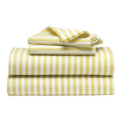 Stripe Sheet Set, White/Citron