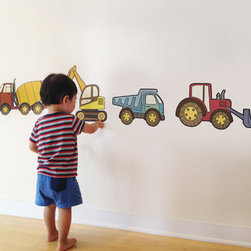 Simple Shapes - Construction Vehicles - Peel and Stick Reusable Wall Stickers. Use your walls and our Peel & Stick Wall Stickers a learning tool! Each construction vehicle is its own fabric sticker that your child can peel off and stick to the wall. You will love the fact that they can peel off and move the stickers around as they please.