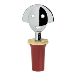 Alessi - Alessi Anna Stop 2 Bottle Stopper, Red - Designed by Alessandro Mendini, this stopper is made of EVA and chrome-plated zamak. With the success that Anna G. produced, it was only a matter of time before a family of objects were created for the table, kitchen and office. Her smiling face has become something of a cult figure over the years. Available in light blue, black, red and yellow.
