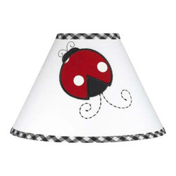 Sweet Jojo Designs - Little Ladybug Lamp Shade - Little Ladybug Lamp Shade by Sweet Jojo Designs is a beautifully designed childrens lamp shade that is made to fit small desk-sized lamp bases (base not included).  The lampshade attaches securely on the lamp's light bulb socket and the light bulb is twisted in through the opening at the top.Lamp Shade Dimensions: 4x7x10