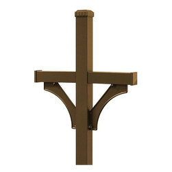 Salsbury Industries - Salsbury In-ground Deluxe Bronze-finish Mailbox Post - This deluxe mailbox post features a bronze finish that is power coated for durability and is able to be mounted in-ground. It is two sided and can accommodate two rural mailboxes attractively.