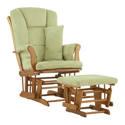Stork Craft - Stork Craft Tuscany Glider and Ottoman with Free Lumbar Pillow in Oak with Sage - Stork Craft - Rocking Chairs Rockers - 0655454L -Available in 6 wood finishes and 4 fabric combinations to create your own custom Tuscany Glider & Ottoman. The Stork Craft Tuscany Glider and Ottoman set offers gentle motion while feeding your baby in those early morning hours. Featuring a solid construction with a magical sleigh design, this is a royal centerpiece for your nursery. The enclosed metal ball-bearings allow for an incredibly smooth motion to glide your baby back to sleep. Micro fiber spot-cleanable cushions ease the worry about spills, while the construction offers an exquisite finish you'll appreciate far beyond the baby years. The Tuscany Glider comes with a matching soft, plush lumbar support pillow for supporting your baby during feeding times.
