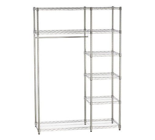Work Closet - Commercial-style chromed steel rack with five shelves and hanging bar organizes office supplies or home storage, closets and dorm rooms.