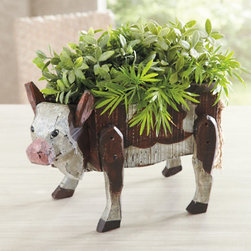 """Grandin Road - Maisie the Cow Box - Open-topped wooden storage box in the shape of a cow. Weathered paint and a rope tail provide charming details. Insert a water-tight container to use as a planter. Simple assembly. Add a little """"farm charm"""" to your decor with our Maisie the Cow Box. Made of painted wood with a rope tail, she can house condiment jars, napkins, or bagged snacks for the kids. To use as a planter, insert a water-tight container.  .  .  .  ."""