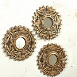 Ballard Designs - Suzanne Kasler Set of 3 Sunburst - I love decorating in threes, and this set of gold sunburst mirrors from Suzanne Kasler is a great find!