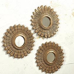 Ballard Designs - Suzanne Kasler Set of 3 Sunburst - I love decorating in threes, and this set of gold sunburst mirrors from Suzanne Kasler is a great find!