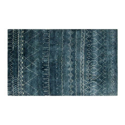 Individual - A 6' x 9' Moroccan Area Rug - Another gorgeous decorative piece with Moroccan look, combination of blue and black. It is made of best wool quality, measures 6' x 9'.