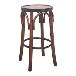 "Honey Barstool 'Grand Hotel' - The honey barstool 'grand hotel' measures 28.7 x 14.8"". The design of our tall brasserie accessory goes back to the late 19th C. when bentwood furniture was developed in Vienna and exported across Europe and the rest of the world. Timeless in style and sturdy in construction, many have survived ages. And ours will follow the same tradition, when handled with love and care."