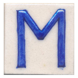 """Knobco - Ceramic Tile 2x2, M - Blue M alphabet white tile from Jaipur, India. Unique, hand painted   tiles for your kitchen or other tiling project. Tile is 2x2"""" in size."""