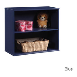 K and B Furniture Co Inc - Open-front Dual Shelf Storage Unit - Store favorite storybooks or display stuffed animals with this versatile and stackable dual shelf storage unit. Designed with an open front for easy access,this wood shelf comes in your choice of blue or white finishes.