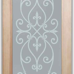 """Bathroom Doors - Interior Glass Doors Frosted - Corazones - CUSTOMIZE YOUR INTERIOR GLASS DOOR!  Interior glass doors or glass door inserts.  .Block the view, but brighten the look with a beautiful interior glass door featuring a custom frosted privacy glass design by Sans Soucie! Suitable for bathroom or bedroom doors, there are no clear areas on this glass.  All surface areas are etched/frosted to be 100% opaque.  Note that anything pressed up against the glass is visible, and shapes and shadows can be seen within approx. 5-12"""" of the glass.  Anything 5-12"""" from the glass surface will become obscured.  Beyond that distance, only lights and shadows will be discernible. Doors ship for just $99 to most states, $159 to some East coast regions, custom packed and fully insured with a 1-4 day transit time.  Available any size, as interior door glass insert only or pre-installed in an interior door frame, with 8 wood types available.  ETA will vary 3-8 weeks depending on glass & door type........  Select from dozens of sandblast etched obscure glass designs!  Sans Soucie creates their interior glass door designs thru sandblasting the glass in different ways which create not only different levels of privacy, but different levels in price.  Bathroom doors, laundry room doors and glass pantry doors with frosted glass designs by Sans Soucie become the conversation piece of any room.   Choose from the highest quality and largest selection of frosted decorative glass interior doors available anywhere!   The """"same design, done different"""" - with no limit to design, there's something for every decor, regardless of style.  Inside our fun, easy to use online Glass and Door Designer at sanssoucie.com, you'll get instant pricing on everything as YOU customize your door and the glass, just the way YOU want it, to compliment and coordinate with your decor.   When you're all finished designing, you can place your order right there online!  Glass and doors ship worldwide, custom packed in"""