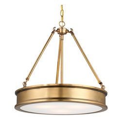 Traditional Urban Hanging Pendant, Antique Brass - This gorgeous antique brass pendant has a great shape. And in brass, it reminds me of a ship's porthole, like something straight off the Titanic.