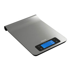 American Weigh Scales - American Weigh Stainless Steel Kitchen Scale - The Epsilon digital kitchen scale features an award winning stainless steel design that is sure to look good in any kitchen. The scale even features a convenient curved back, allowing it to hang from a number of kitchen rack systems.