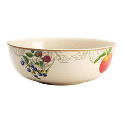 BonJour - BonJour Dinnerware Orchard Harvest 9 in. Serving Bowl Multicolor - 54184 - Shop for Bowls and Candy Dishes from Hayneedle.com! Whether it s a weeknight family dinner or a big holiday gathering the BonJour Dinnerware Orchard Harvest 9 in. Serving Bowl sets a tasty scene. It s all thanks to the colorful fruits which are understated and elegant subtle and sophisticated. They re set against an ivory-finished background with an ochre border but it s not all about looking pretty - this bowl is built tough out of durable stoneware that s safe for the freezer microwave and dishwasher. You can even place it in the oven for up to 30 minutes at 250F degrees - hello leftovers. Use with your current dinnerware or pair with other pieces in BonJour s Orchard Harvest collection.About Meyer CorporationMeyer Corporation U.S. based in Vallejo Calif. has been one of the fastest-growing cookware companies in the United States and is now the largest distributor of range-top cookware in the country. Meyer Corporation specializes in the distribution of metal cookware and other kitchen products. The cookware is made by Meyer Corporation's own affiliate factories throughout the world; offering different brands enables the company to distribute different levels of cookware. Meyer Corporation's focus is on developing high-quality top-performing cookware using cutting-edge technology and designs. The company offers cookware made from stainless steel hard-anodized aluminum and non-stick aluminum.