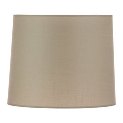 """Lamps Plus - Traditional Beige Linen Hardback Drum Shade 15x18x12 (Spider) - Drum lamp shade. Linen material. Hardback shade. Beige color. Unlined. Polished brass spider fitter. 15"""" across the top. 18"""" across the bottom. 12"""" on the slant.       Drum lamp shade.  Linen material.  Hardback shade.  Beige color.  Unlined.  Polished brass spider fitter.  15"""" across the top.  18"""" across the bottom.  12"""" on the slant."""