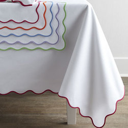 "Matouk - Matouk 68"" x 126"" Lanai Tablecloth - Exclusively ours. Easy-care white pique table linens are finished with a scalloped edge in your choice of colors. From Matouk. Cotton/polyester. Select trim color when ordering. Placemats, 13"" x 19"". Napkins, 22""Sq. Machine wash. Made in the USA..."