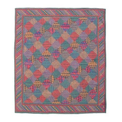 Patch Quilts - Tartan Log Cabin Twin Quilt - -Constructed of 100% Cotton  -Machine washable; gentle dry  -Made in India  - Quilt may be darker than pictured  - The colors on the quilt may appear darker than pictured Patch Quilts - QTTLC