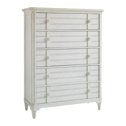 Stanley - Cypress Grove Drawer Chest - Relaxed and tranquil. Clean lines with louvered drawer fronts in a glazed white Parchment finish are freshly unique. The Cypress Grove Chest is essential in a contemporary, cottage-style bedroom. All drawers come with fully extending guides for ease of use.
