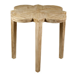 Quatre Feuille Side Table with a Gray Wash Wax Finish - A chair-side classic, the Quatre Feuille Side Table is an elegant accent surface with a scallop-sided top, constructed from genuine reclaimed lumber so cleverly joined that the grain of the wood itself complements the shape of the four-petaled flower design.  The unpretentious straight legs, which are made of the same material, culminate in the barb points of the top's flower.  An antiqued wash over all parts gives a handsome sense of weather to this desirable end table.