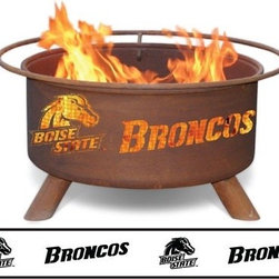 "Patina Products - Collegiate Fire Pit - Features: -Manufactured from cold-rolled steel for years of durability.-Sturdy legs welded in place for stability and safety.-Comes fully assembled for immediate use.-Free Fire Pit Cover!.-Officially licenensed collegiate product.-Cut outs provide safe ventilation with a protective inner spark screen.-Includes spark screen cover, poker, and bbq grill insert.-Cold-rolled steel construction.-Collection: Collegiate Fire pit Series.-Finish: Rust patina.-Distressed: No.-Powder Coated Finish: No.-Gloss Finish: No.-Material: Steel.-Number of Items Included: Includes three items: poker, grill, and sparkscreen.-Hardware Material: Steel.-Tabletop Fireplace: No.-Fuel Type: Wood.-Fuel Included: No.-Plug In: No.-Vent: Yes.-Fire Bowl Filler Accommodated: Fits 3 to 5 logs, can be used for grilling.-Fire Bowl Filler Included: No.-Folding: No.-Heat Resistant Coating: Yes.-UV Protected: No.-Rust Resistant: No.-Log Grate Included: No.-Spark Screen Included: Yes -Spark Screen Material: Steel..-Snuffer Included: No.-Fire Poker Included: Yes.-Safety Ring: Yes.-Built in Cooking Area: Yes -Cooking Grate Included: Yes.-Adjustable Cooking Grate: No..-Handles: Yes.-Portable: No.-Cover Included: Yes -Cover Material: All-weather, vinyl-like material..-Weight Capacity: 50 lbs.-Swatch Available: No.-Commercial Use: Yes.-Recycled Content: No.-Eco-Friendly: No.Specifications: -CSA Certified: No.Dimensions: -Overall Height - Top to Bottom: 16"".-Overall Width - Side to Side: 30"".-Overall Depth - Front to Back: 16"".-Fire Bowl Height: 12"".-Fire Bowl Width: 24"".-Fire Bowl Depth: 12"".-Spark Screen: -Spark Screen Height - Top to Bottom: 6"".-Spark Screen Width - Side to Side: 23"".-Spark Screen Depth - Front to Back: 23""..-Safety Ring Diameter: 30"".-Distance Between Safety Ring And Fire Bowl: 6"".-Overall Product Weight: 50 lbs.Assembly: -Assembly Required: No.-Additional Parts Required: No.Warranty: -Product Warranty: 5-year warranty that the fire pit wil not burn through or rust through."