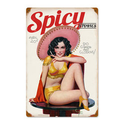 Spicy Stories Mexican Pinup Girl Sign Metal Sign Wall Decor 12 x 18 - Spicy Stories Mexican Pinup Girl Sign Metal Sign Wall Decor From the Retro  A Go Go licensed collection, this Spicy Stories Mexican Pinup Girl Sign vintage metal sign measures 12 inches by 18 inches and weighs in at 2 lb(s). This vintage metal sign is hand made in the USA using heavy gauge american steel and a process known as sublimation, where the image is baked into a powder coating for a durable and long lasting finish. It then undergoes a vintaging process by hand to give it an aged look and feel. This vintage metal sign is drilled and riveted for easy hanging.