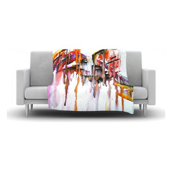"""Kess InHouse - Malia Shields """"Cascade Watercolor Abstract"""" White Multicolor Fleece Blanket (30"""" - Now you can be warm AND cool, which isn't possible with a snuggie. This completely custom and one-of-a-kind Kess InHouse Fleece Throw Blanket is the perfect accent to your couch! This fleece will add so much flare draped on your sofa or draped on you. Also this fleece actually loves being washed, as it's machine washable with no image fading."""