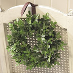 Ballard Designs - Boxwood Mini Wreaths - Set of 4 - More lush and full than ever before, our fabric Boxwood Mini Wreaths have the same luster and light/ dark shading you find in natural boxwood, but ours will never fade. Use the Mini Wreaths to decorate window panes or chair backs.