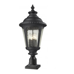 Outdoor Pier Mount - Traditional and timeless, this large outdoor pier mount combines black cast aluminum hardware with seedy glass for a classic look.